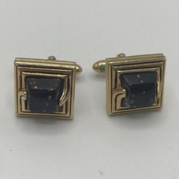 Vintage Swank Sterling Silver Cuff Links with Blue Grey Stone 1960s